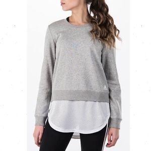 Adidas Dual Sweatshirt Mesh Hem Gray White Large